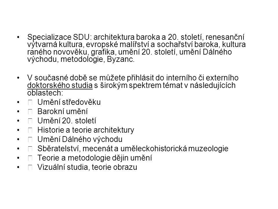 Specializace SDU: architektura baroka a 20.