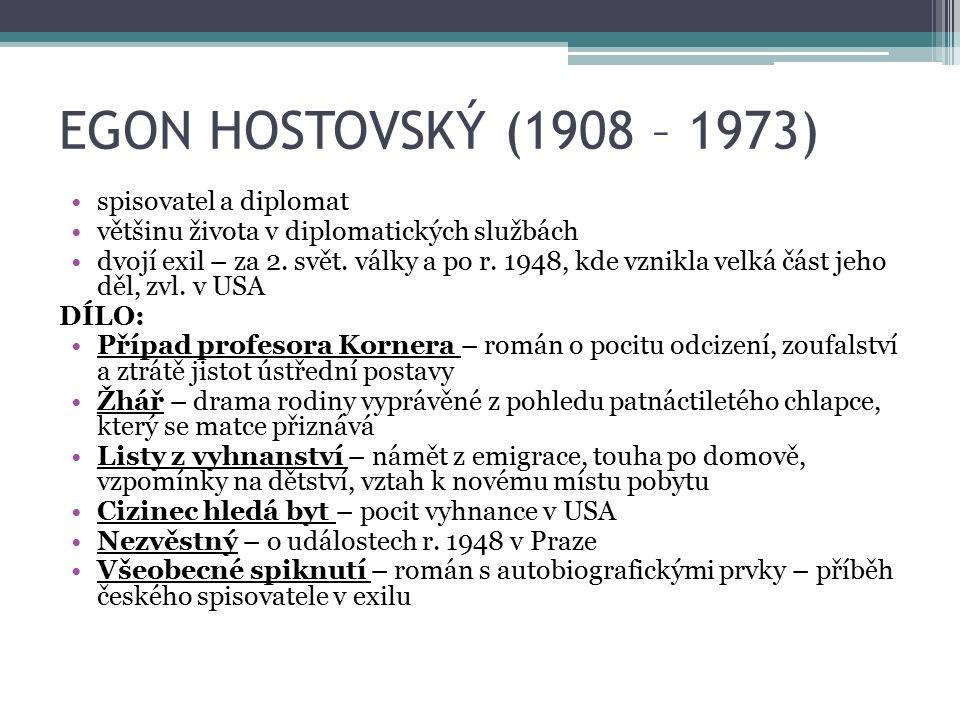 EGON HOSTOVSKÝ (1908 – 1973) spisovatel a diplomat většinu života v diplomatických službách dvojí exil – za 2.