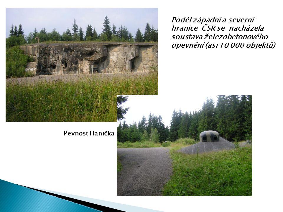 Pevnost Hanička Podél západní a severní hranice ČSR se nacházela soustava železobetonového opevnění (asi 10 000 objektů)