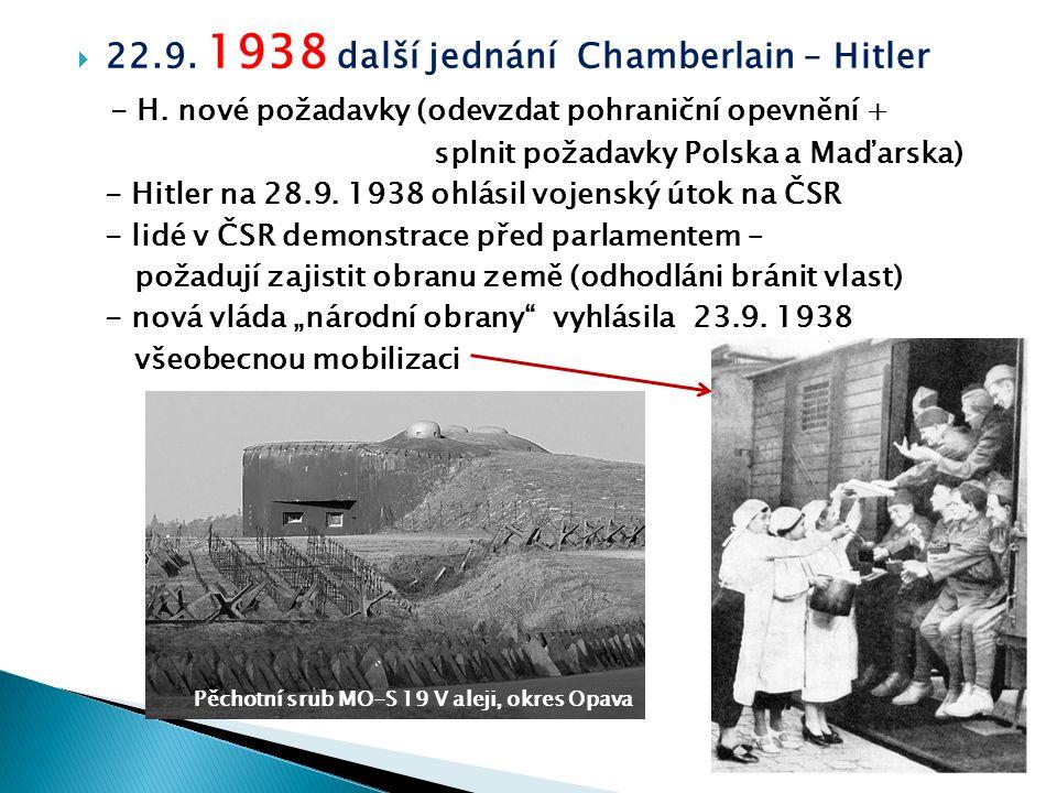  22.9. 1938 další jednání Chamberlain – Hitler - H. nové požadavky (odevzdat pohraniční opevnění + splnit požadavky Polska a Maďarska) - Hitler na 28