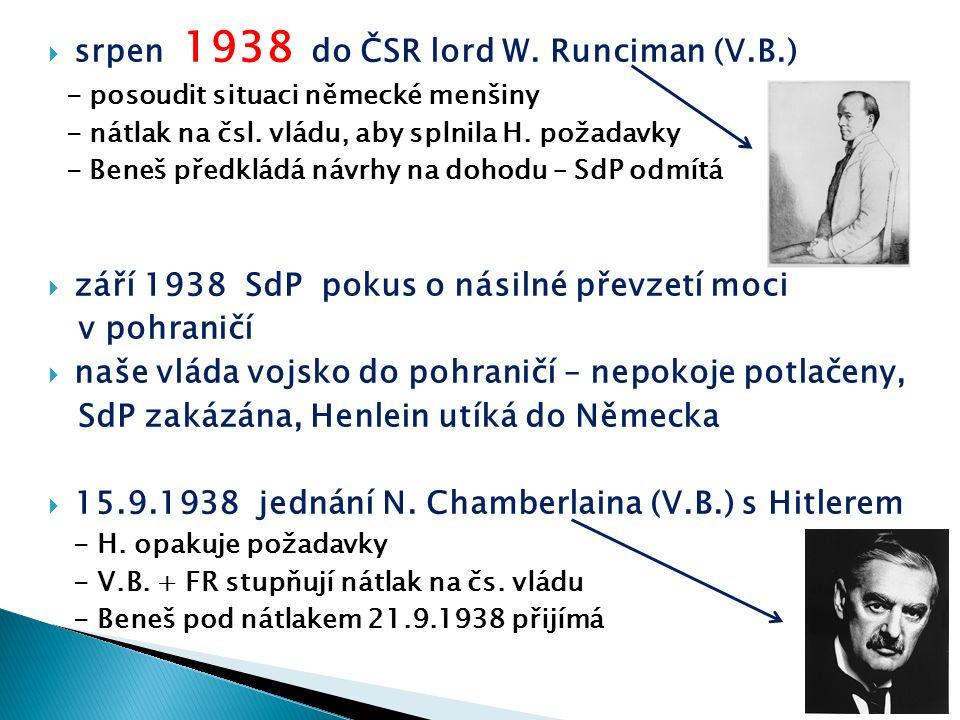  srpen 1938 do ČSR lord W. Runciman (V.B.) - posoudit situaci německé menšiny - nátlak na čsl. vládu, aby splnila H. požadavky - Beneš předkládá návr