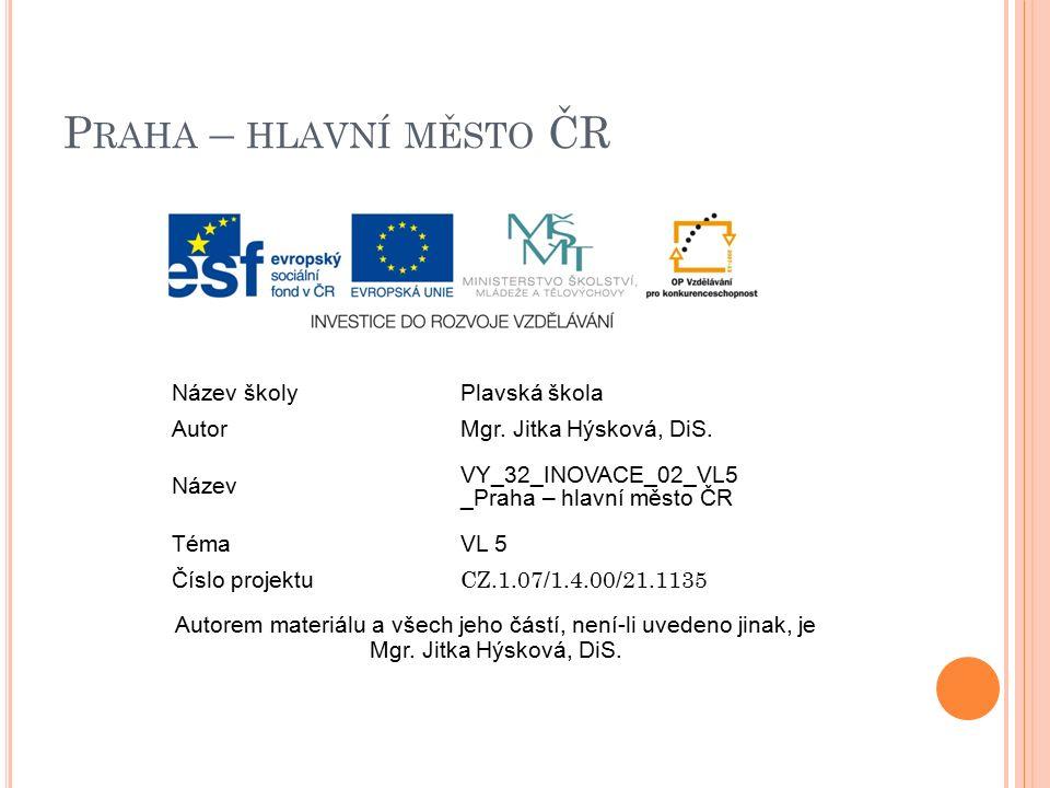 P RAHA – HLAVNÍ MĚSTO ČR Název školyPlavská škola AutorMgr.