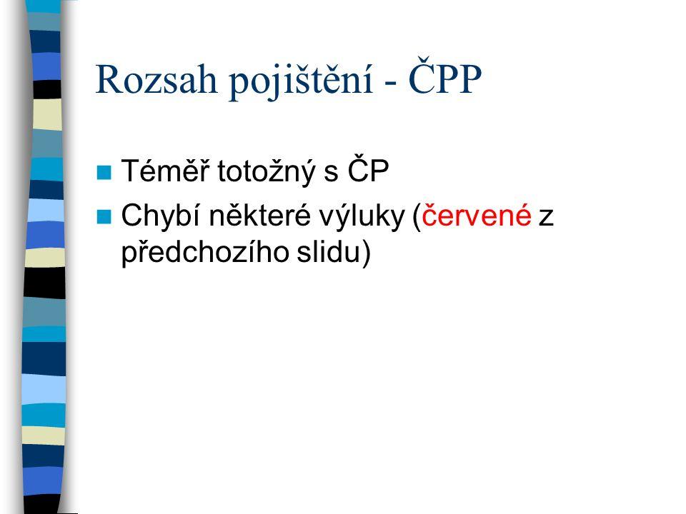 Rozsah pojištění - ČPP Téměř totožný s ČP Chybí některé výluky (červené z předchozího slidu)