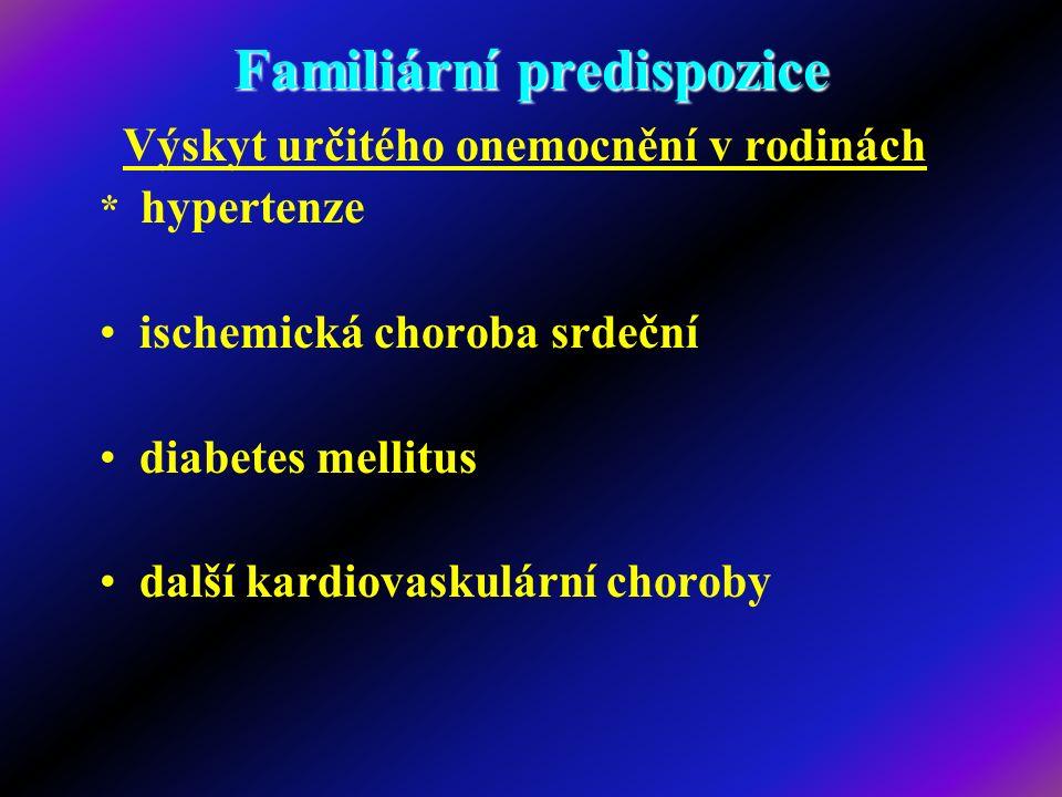 Familiární predispozice Výskyt určitého onemocnění v rodinách * hypertenze ischemická choroba srdeční diabetes mellitus další kardiovaskulární choroby