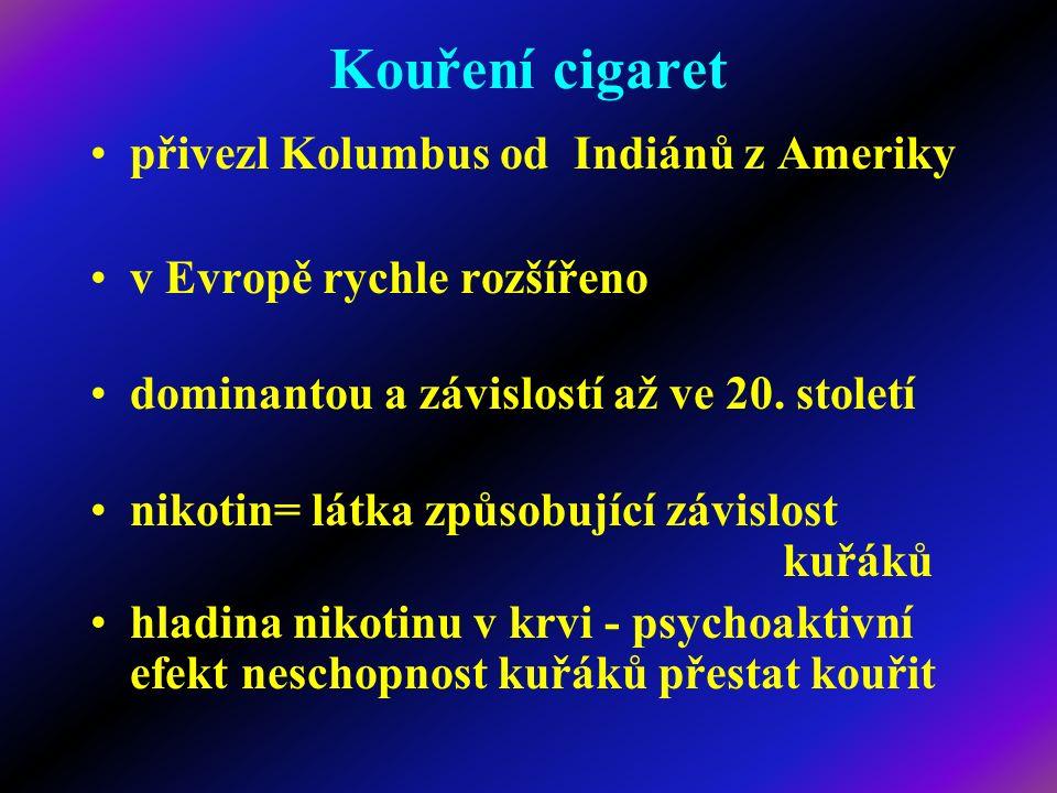 Kouření cigaret přivezl Kolumbus od Indiánů z Ameriky v Evropě rychle rozšířeno dominantou a závislostí až ve 20. století nikotin= látka způsobující z