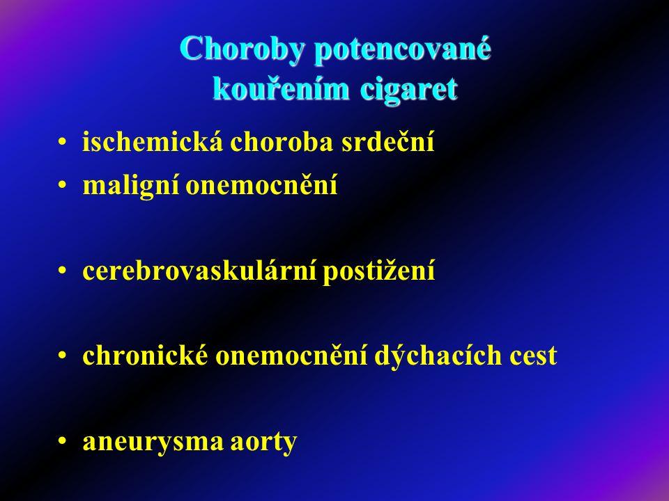 Choroby potencované kouřením cigaret ischemická choroba srdeční maligní onemocnění cerebrovaskulární postižení chronické onemocnění dýchacích cest ane
