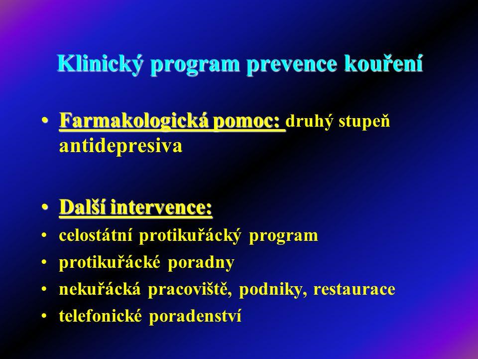 Klinický program prevence kouření Farmakologická pomoc:Farmakologická pomoc: druhý stupeň antidepresiva Další intervence:Další intervence: celostátní