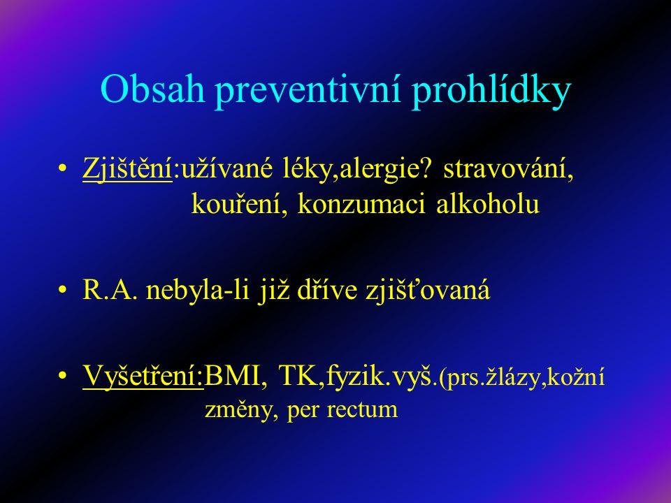 Obsah preventivní prohlídky Zjištění:užívané léky,alergie? stravování, kouření, konzumaci alkoholu R.A. nebyla-li již dříve zjišťovaná Vyšetření:BMI,