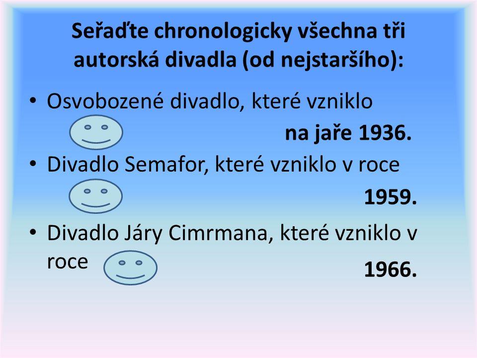 Seřaďte chronologicky všechna tři autorská divadla (od nejstaršího): Osvobozené divadlo, které vzniklo Divadlo Semafor, které vzniklo v roce Divadlo Járy Cimrmana, které vzniklo v roce na jaře 1936.