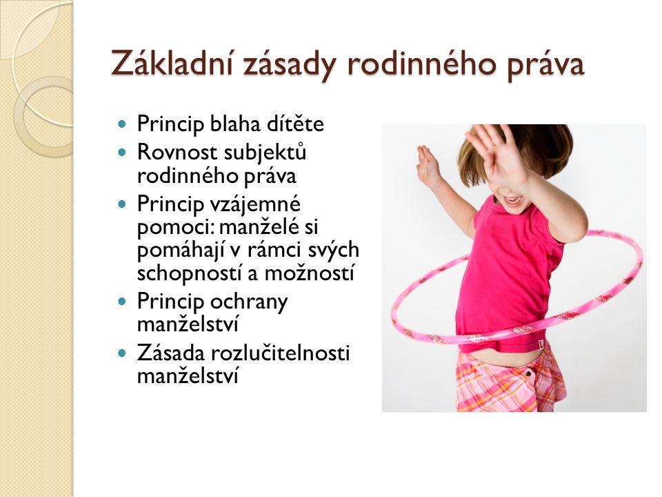 Základní zásady rodinného práva Princip blaha dítěte Rovnost subjektů rodinného práva Princip vzájemné pomoci: manželé si pomáhají v rámci svých schop