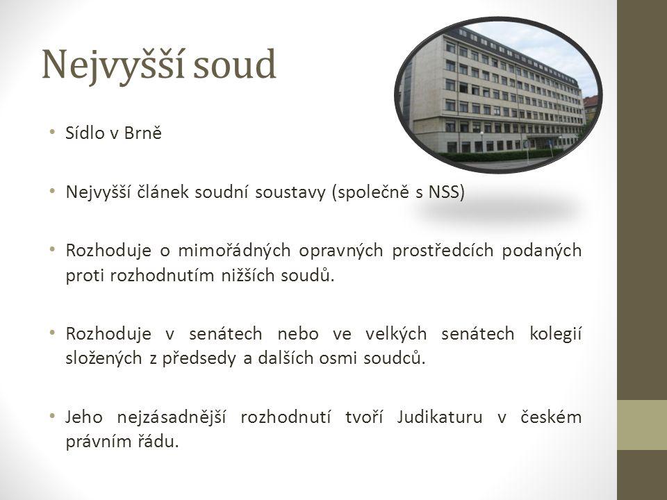 Nejvyšší soud Sídlo v Brně Nejvyšší článek soudní soustavy (společně s NSS) Rozhoduje o mimořádných opravných prostředcích podaných proti rozhodnutím nižších soudů.