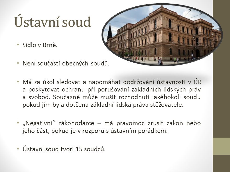 Ústavní soud Sídlo v Brně. Není součástí obecných soudů.