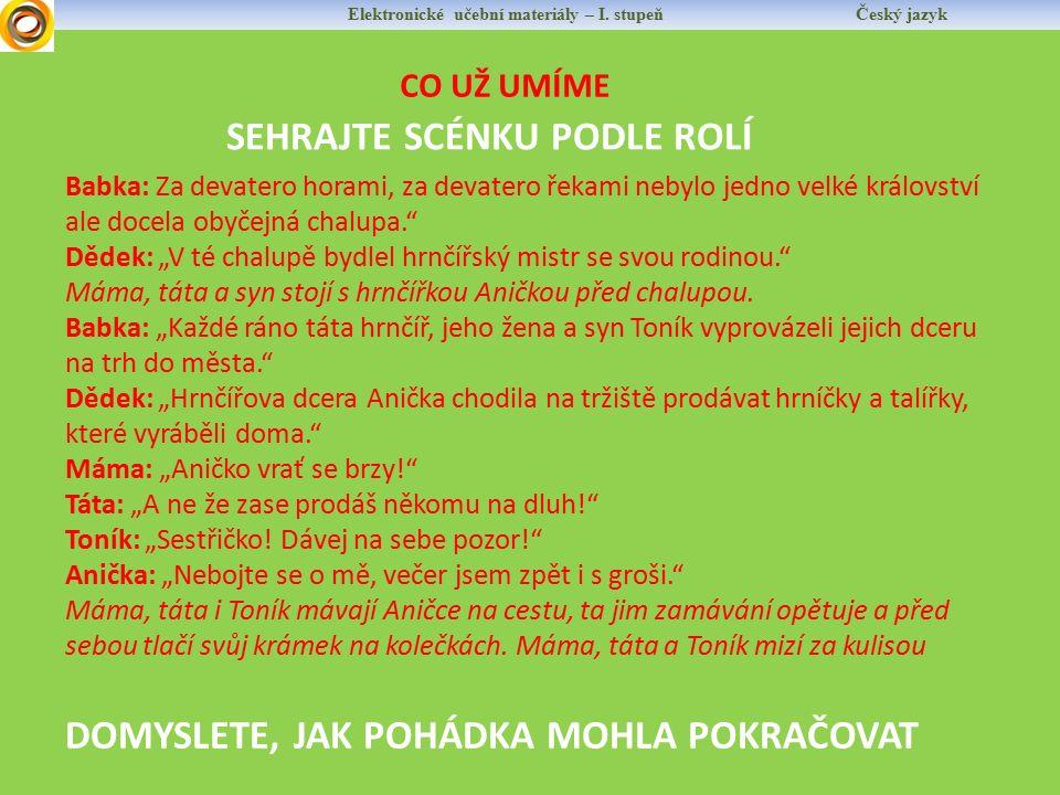 Elektronické učební materiály – I.stupeň Český jazyk NOVÁ LÁTKA BÝVÁ ČASTO SOUČÁSTÍ VYPRAVOVÁNÍ.