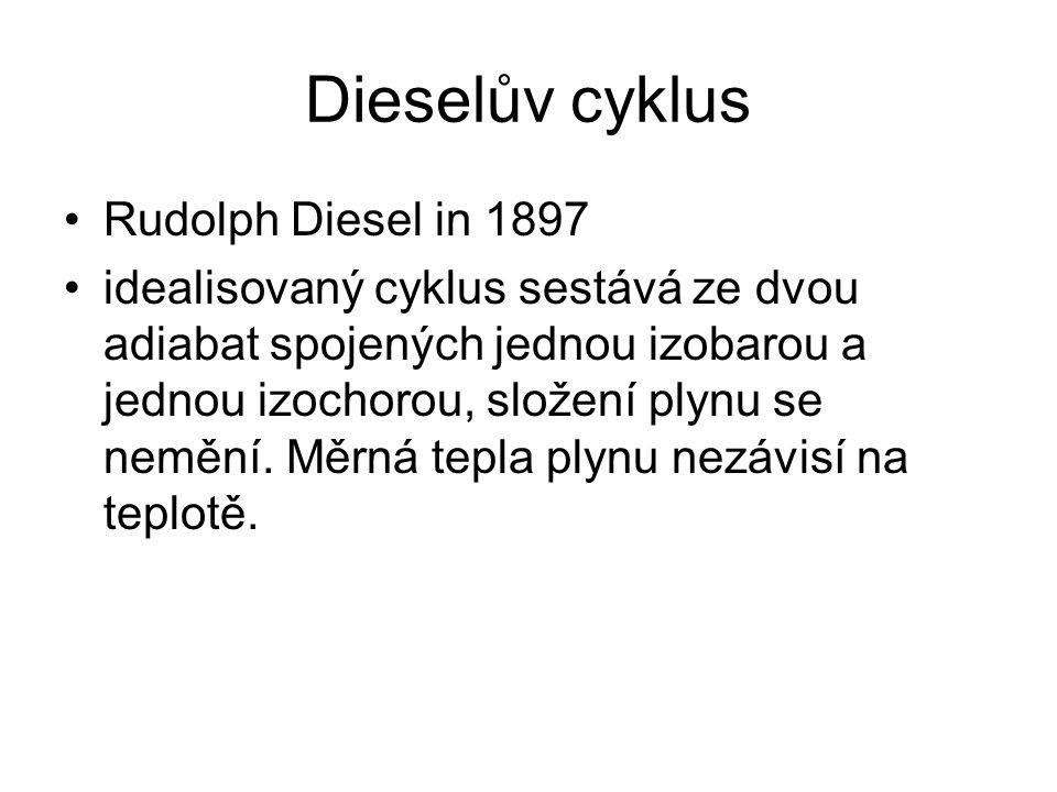 Dieselův cyklus Rudolph Diesel in 1897 idealisovaný cyklus sestává ze dvou adiabat spojených jednou izobarou a jednou izochorou, složení plynu se nemění.