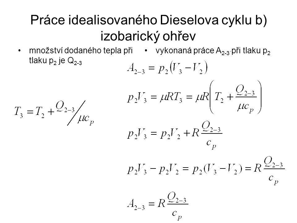 Práce idealisovaného Dieselova cyklu b) izobarický ohřev množství dodaného tepla při tlaku p 2 je Q 2-3 vykonaná práce A 2-3´ při tlaku p 2
