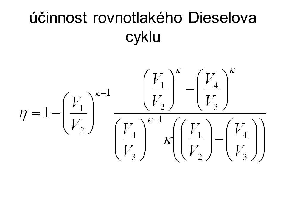 účinnost rovnotlakého Dieselova cyklu