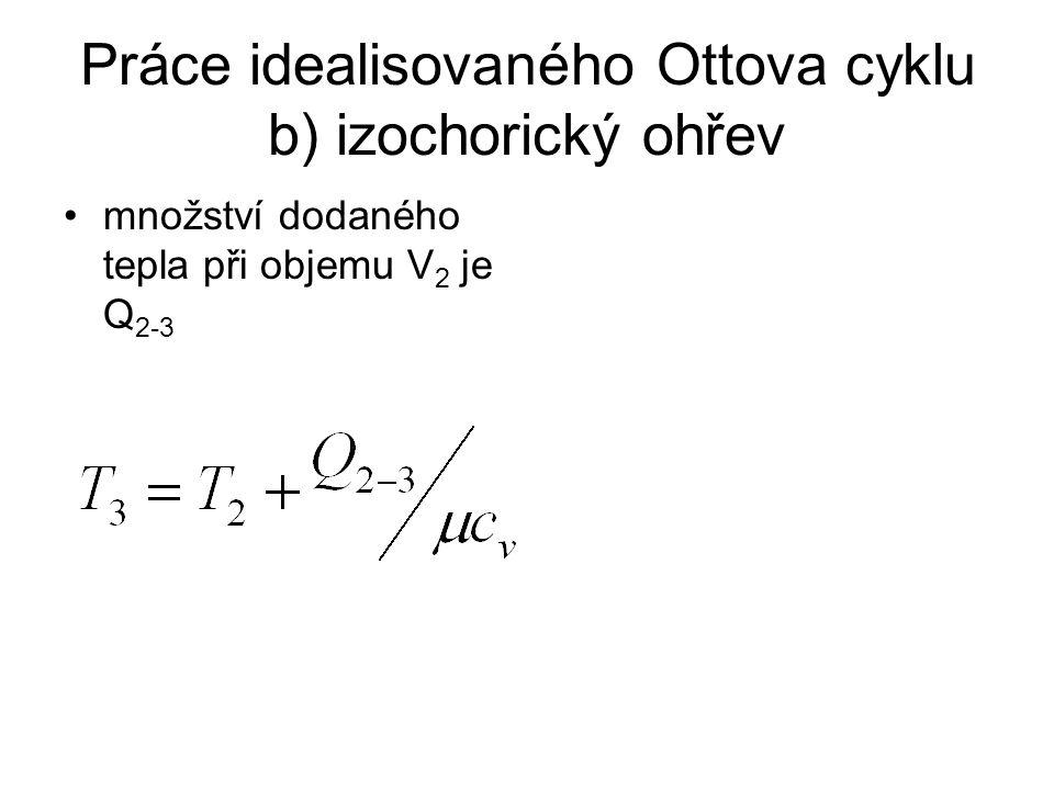 Práce idealisovaného Ottova cyklu b) expanzní práce při expanzi z objemu V 2 na objem V 1