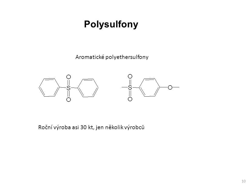 Aromatické polyethersulfony 10 Roční výroba asi 30 kt, jen několik výrobců Polysulfony