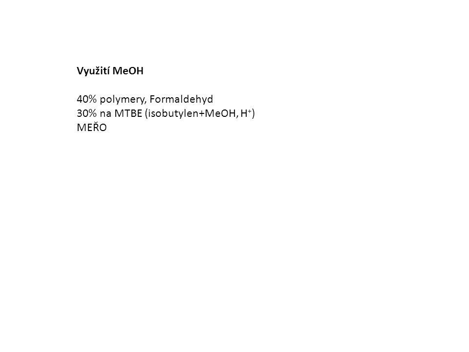 Využití MeOH 40% polymery, Formaldehyd 30% na MTBE (isobutylen+MeOH, H + ) MEŘO