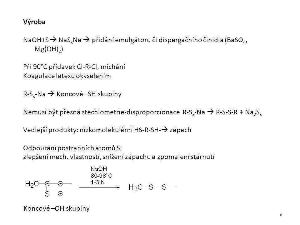 Výroba NaOH+S  NaS x Na  přidání emulgátoru či dispergačního činidla (BaSO 4, Mg(OH) 2 ) Při 90°C přídavek Cl-R-Cl, míchání Koagulace latexu okyselením R-S x -Na  Koncové –SH skupiny Nemusí být přesná stechiometrie-disproporcionace R-S x -Na  R-S-S-R + Na 2 S x Vedlejší produkty: nízkomolekulární HS-R-SH-  zápach Odbourání postranních atomů S: zlepšení mech.