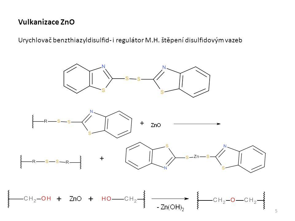 5 Vulkanizace ZnO Urychlovač benzthiazyldisulfid- i regulátor M.H. štěpení disulfidovým vazeb