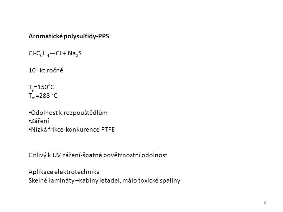 9 Aromatické polysulfidy-PPS Cl-C 6 H 4 —Cl + Na 2 S 10 1 kt ročně T g =150°C T m =288 °C Odolnost k rozpouštědlům Záření Nízká frikce-konkurence PTFE Citlivý k UV záření-špatná povětrnostní odolnost Aplikace elektrotechnika Skelné lamináty –kabiny letadel, málo toxické spaliny
