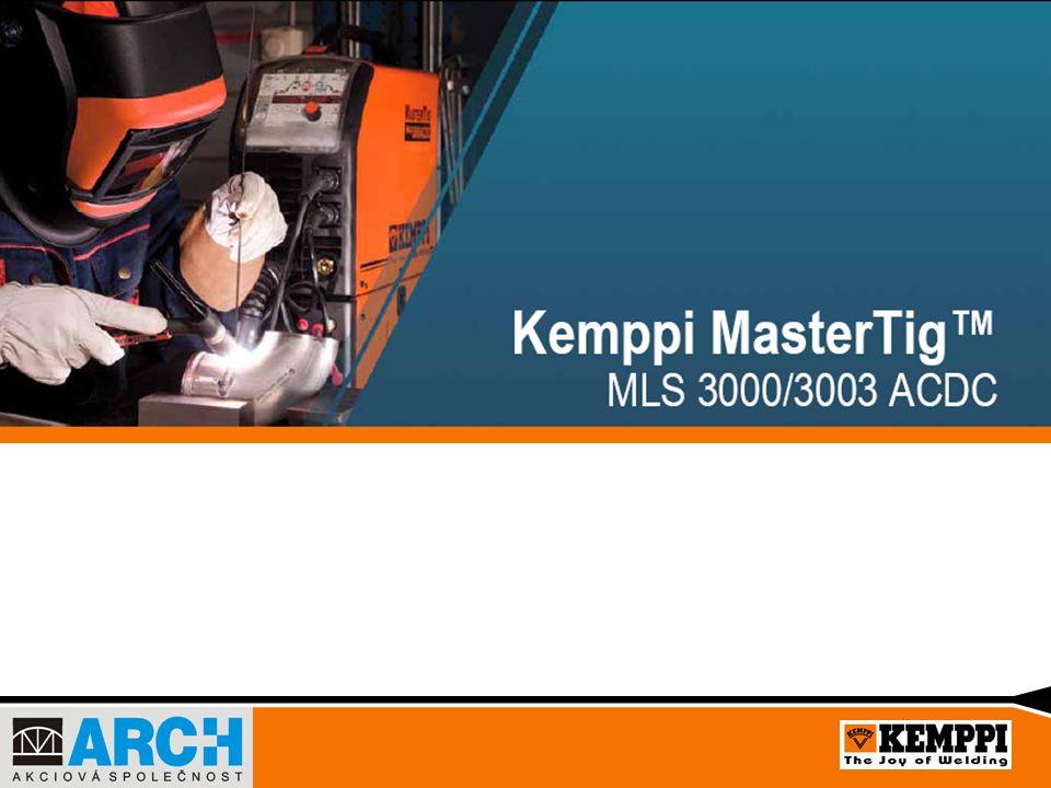Nový zařízení ve třídě MasterTig MLS Řada zařízení MasterTig MLS byla doplněna novými třífázovými modely MasterTig MLS 3000 ACDC a MasterTig MLS 3003 ACDC Nový MasterTig MLS ACDC představuje vrchol v nynější technologii svařování metodou TIG Multi-napěťový model 3003 je vhodný pro použití v třífázové síti při napětí 230 – 460V Model 3000 může být připojen pouze na napětí 400V Zařízení lze doplnit o nové vodní chlazení MasterCool 30