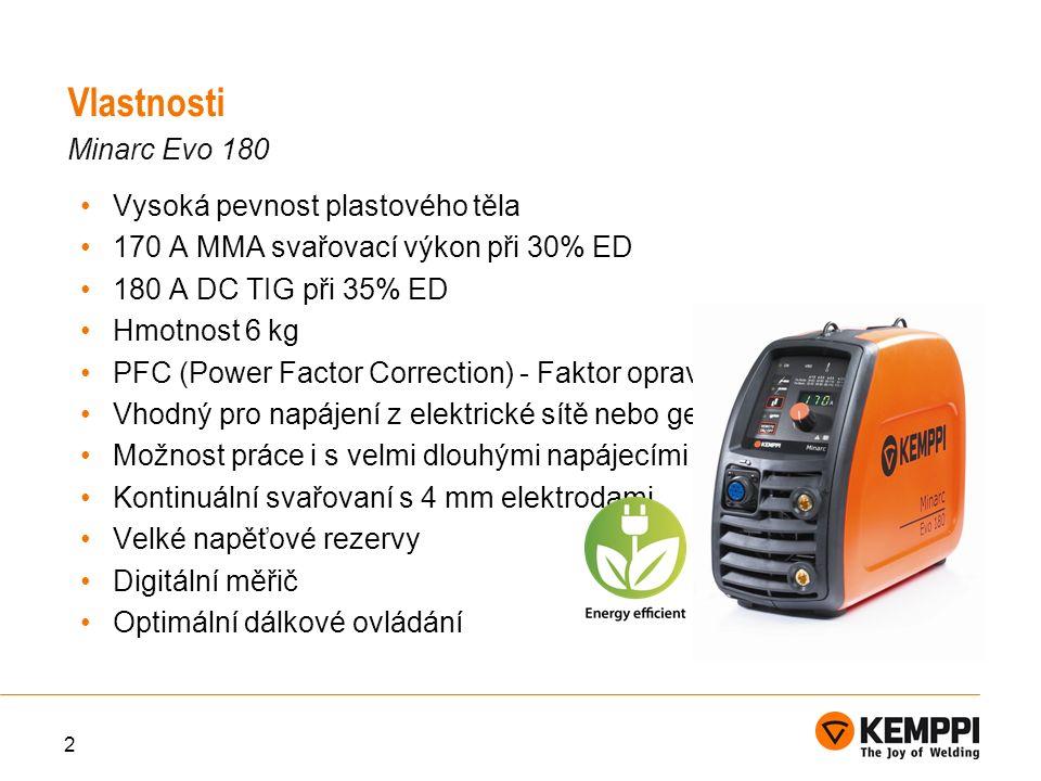 Vysoká pevnost plastového těla 170 A MMA svařovací výkon při 30% ED 180 A DC TIG při 35% ED Hmotnost 6 kg PFC (Power Factor Correction) - Faktor opravy napájení Vhodný pro napájení z elektrické sítě nebo generátoru Možnost práce i s velmi dlouhými napájecími kabely Kontinuální svařovaní s 4 mm elektrodami Velké napěťové rezervy Digitální měřič Optimální dálkové ovládání 2 Vlastnosti Minarc Evo 180