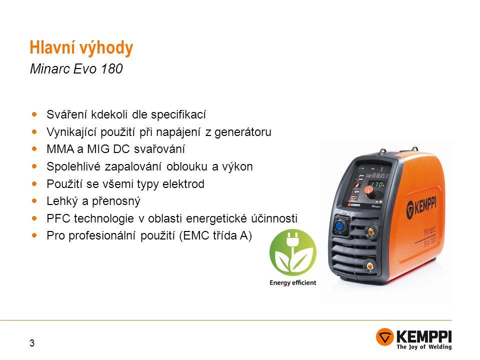 3  Sváření kdekoli dle specifikací  Vynikající použití při napájení z generátoru  MMA a MIG DC svařování  Spolehlivé zapalování oblouku a výkon  Použití se všemi typy elektrod  Lehký a přenosný  PFC technologie v oblasti energetické účinnosti  Pro profesionální použití (EMC třída A) Hlavní výhody Minarc Evo 180