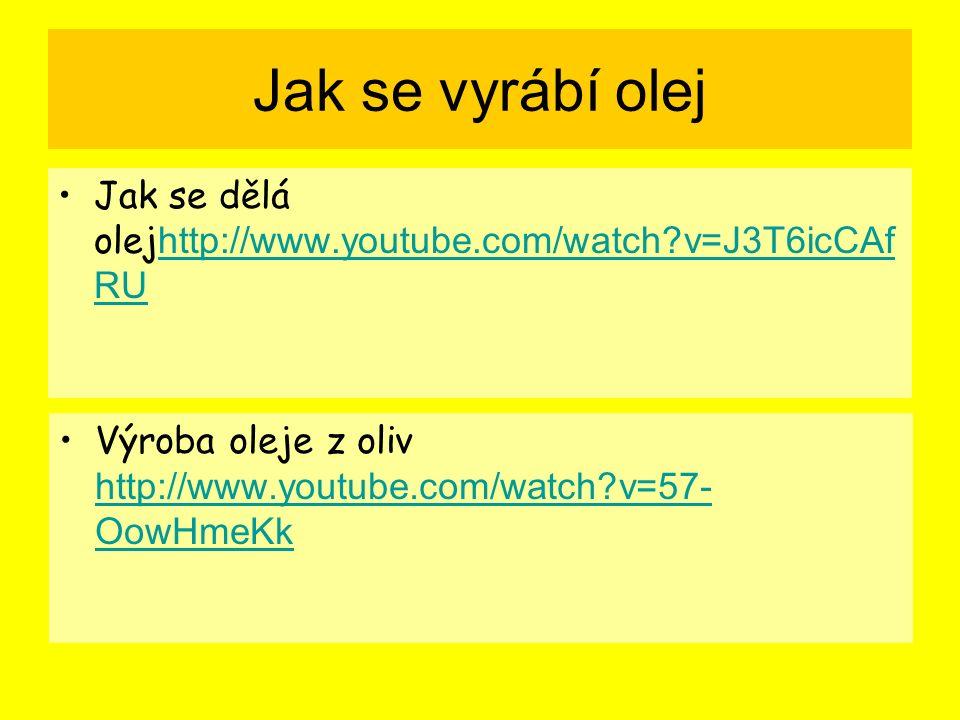 Jak se vyrábí olej Jak se dělá olej http://www.youtube.com/watch v=J3T6icCAf RU http://www.youtube.com/watch v=J3T6icCAf RU Výroba oleje z oliv http://www.youtube.com/watch v=57- OowHmeKk http://www.youtube.com/watch v=57- OowHmeKk