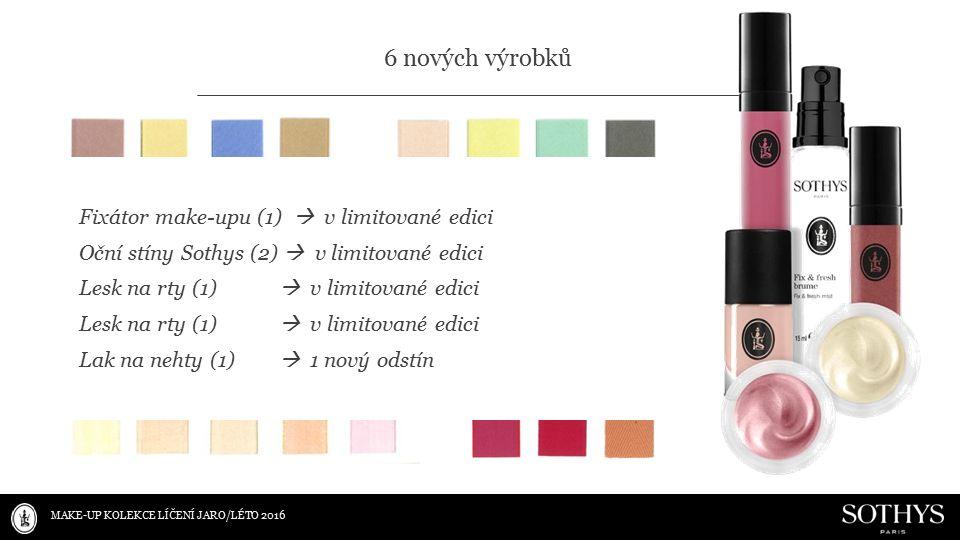 Fixátor make-upu (1)  v limitované edici Oční stíny Sothys (2)  v limitované edici Lesk na rty (1)  v limitované edici Lak na nehty (1)  1 nový odstín MAKE-UP KOLEKCE LÍČENÍ JARO/LÉTO 2016 6 nových výrobků