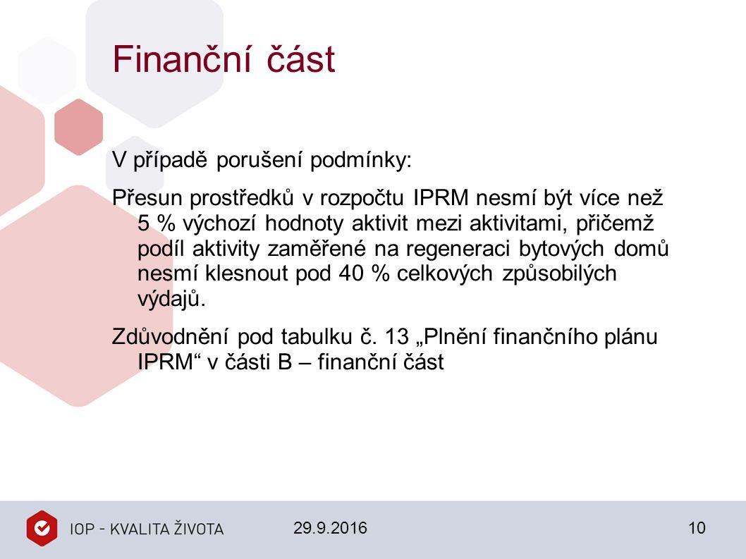 Finanční část V případě porušení podmínky: Přesun prostředků v rozpočtu IPRM nesmí být více než 5 % výchozí hodnoty aktivit mezi aktivitami, přičemž p