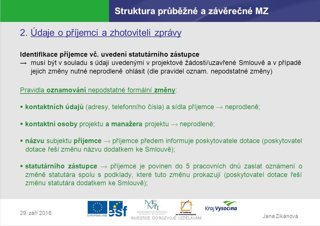 Jana Zikánová INVESTICE DO ROZVOJE VZDĚLÁVÁNÍ 29.září 2016 3.