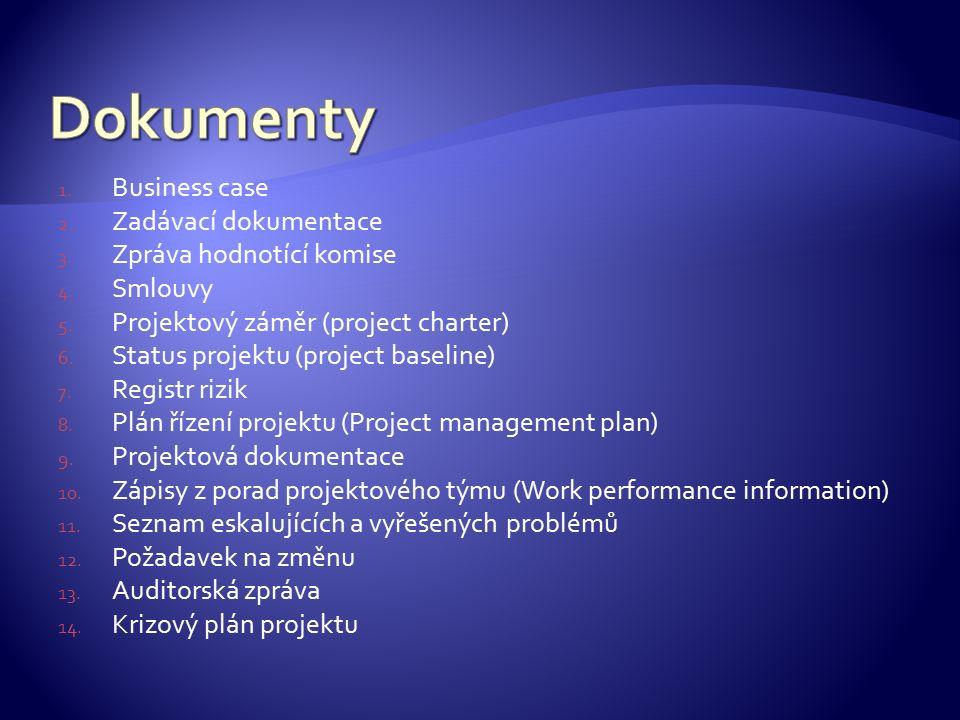 1. Business case 2. Zadávací dokumentace 3. Zpráva hodnotící komise 4. Smlouvy 5. Projektový záměr (project charter) 6. Status projektu (project basel