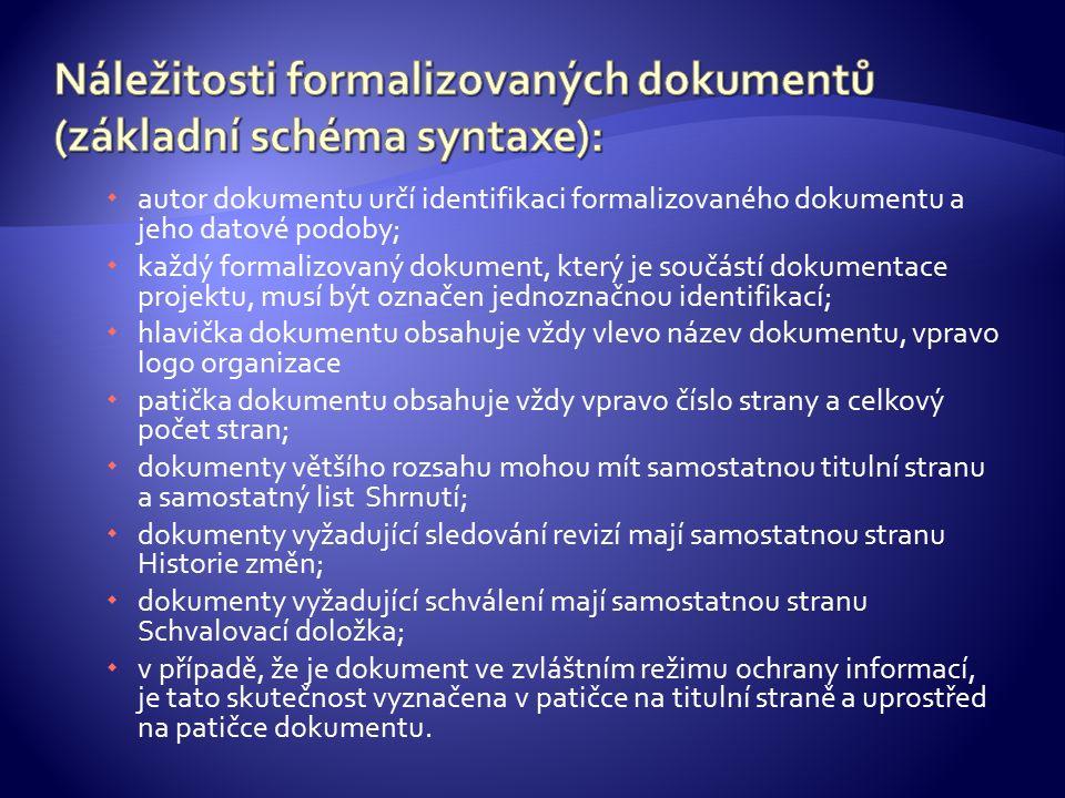  autor dokumentu určí identifikaci formalizovaného dokumentu a jeho datové podoby;  každý formalizovaný dokument, který je součástí dokumentace proj