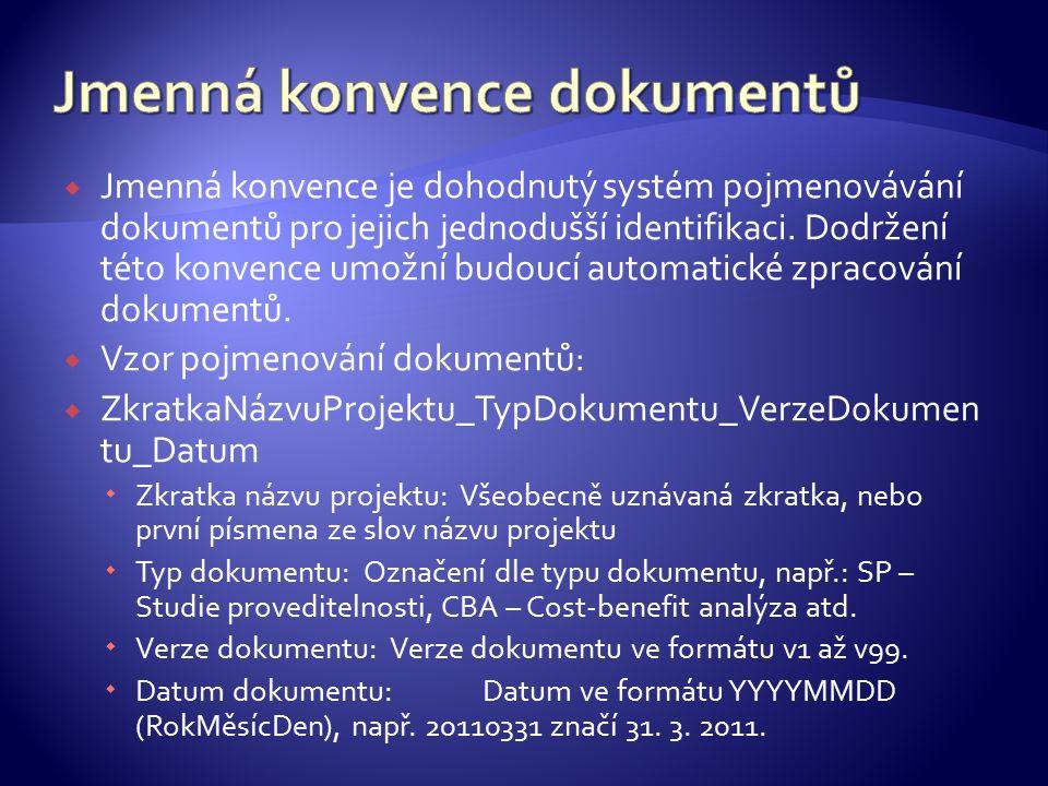  Jmenná konvence je dohodnutý systém pojmenovávání dokumentů pro jejich jednodušší identifikaci. Dodržení této konvence umožní budoucí automatické zp