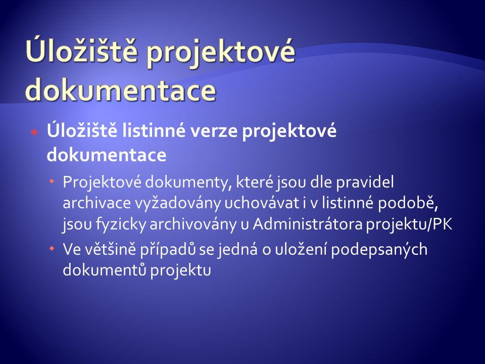  Úložiště listinné verze projektové dokumentace  Projektové dokumenty, které jsou dle pravidel archivace vyžadovány uchovávat i v listinné podobě, j