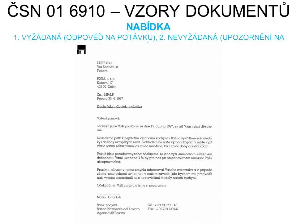 ČSN 01 6910 – VZORY DOKUMENTŮ URGENCE DODÁVKY HAMISH2K.