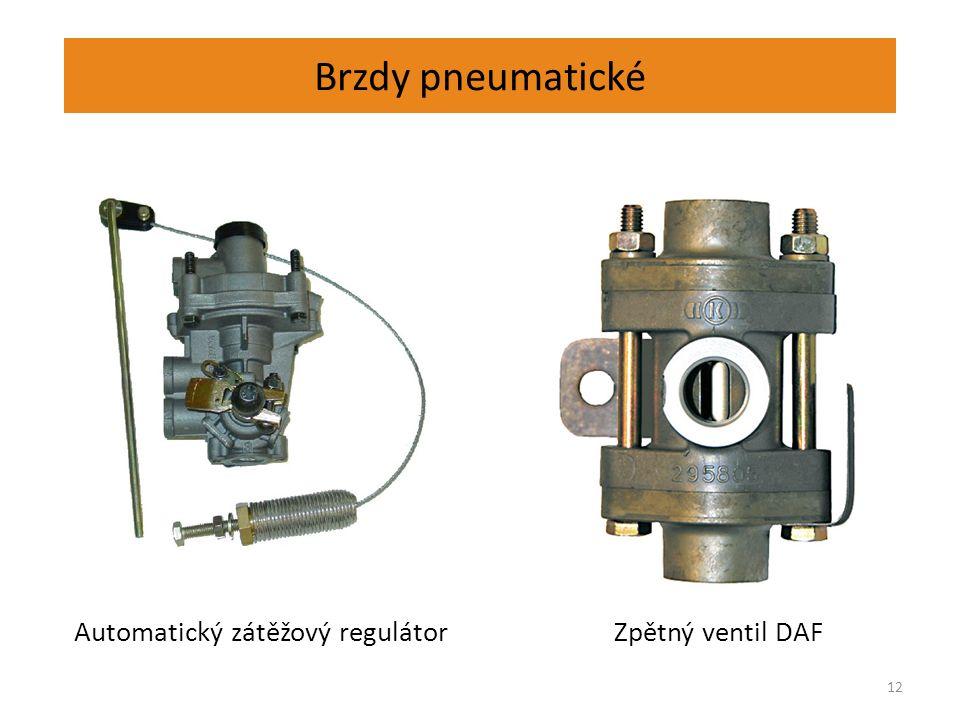 Brzdy pneumatické 12 Automatický zátěžový regulátor Zpětný ventil DAF