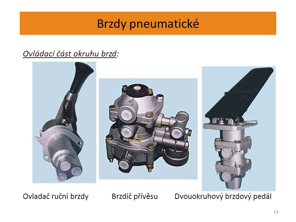 Brzdy pneumatické 14 Ovládací část okruhu brzd: Ovladač ruční brzdy Brzdič přívěsu Dvouokruhový brzdový pedál
