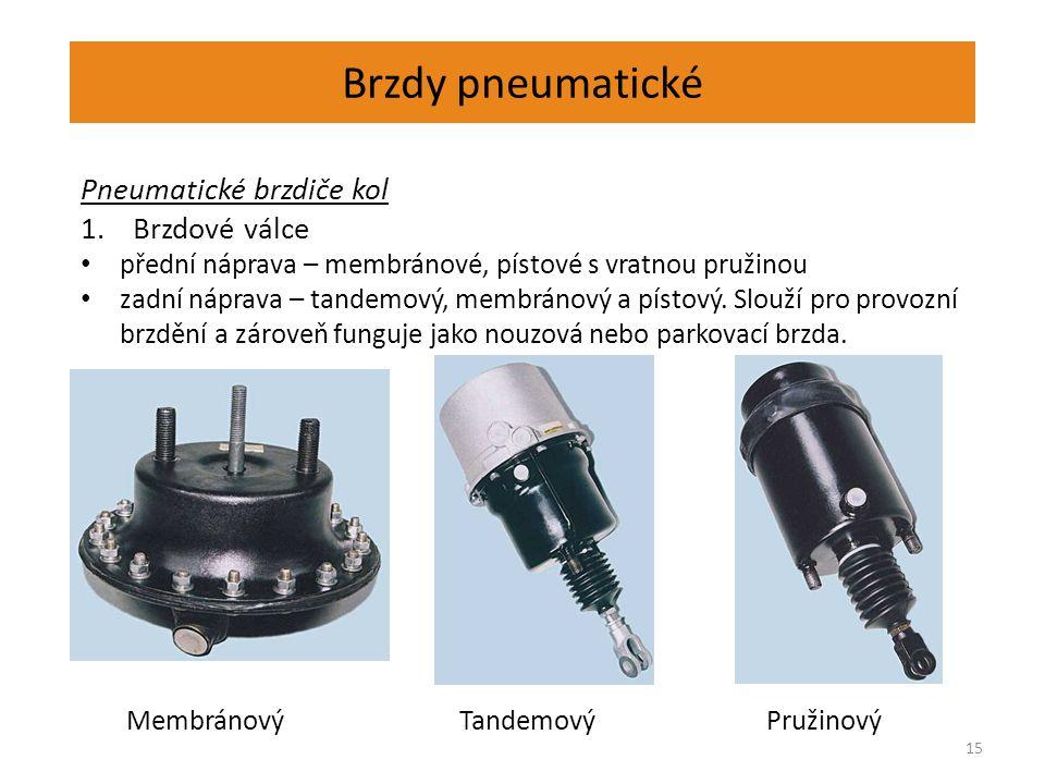 Brzdy pneumatické 15 Pneumatické brzdiče kol 1.Brzdové válce přední náprava – membránové, pístové s vratnou pružinou zadní náprava – tandemový, membránový a pístový.