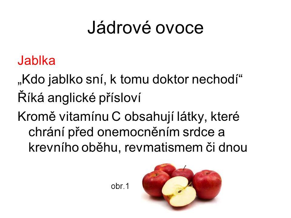 """Jádrové ovoce Jablka """"Kdo jablko sní, k tomu doktor nechodí Říká anglické přísloví Kromě vitamínu C obsahují látky, které chrání před onemocněním srdce a krevního oběhu, revmatismem či dnou obr.1"""
