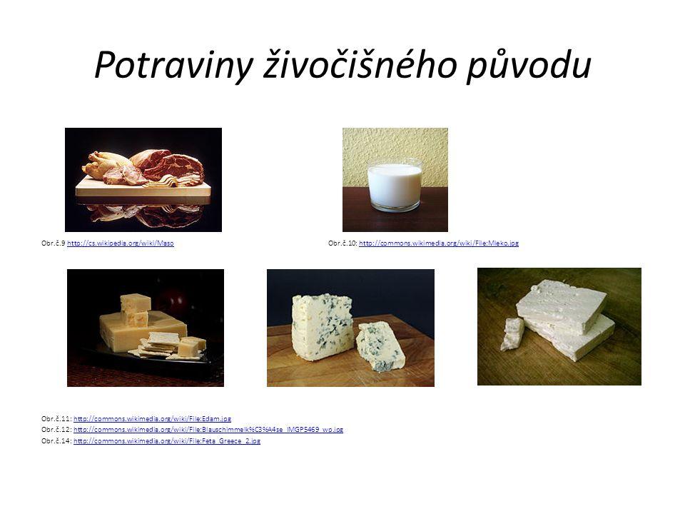 Potraviny živočišného původu Obr.č.9 http://cs.wikipedia.org/wiki/Maso Obr.č.10: http://commons.wikimedia.org/wiki/File:Mleko.jpghttp://cs.wikipedia.o