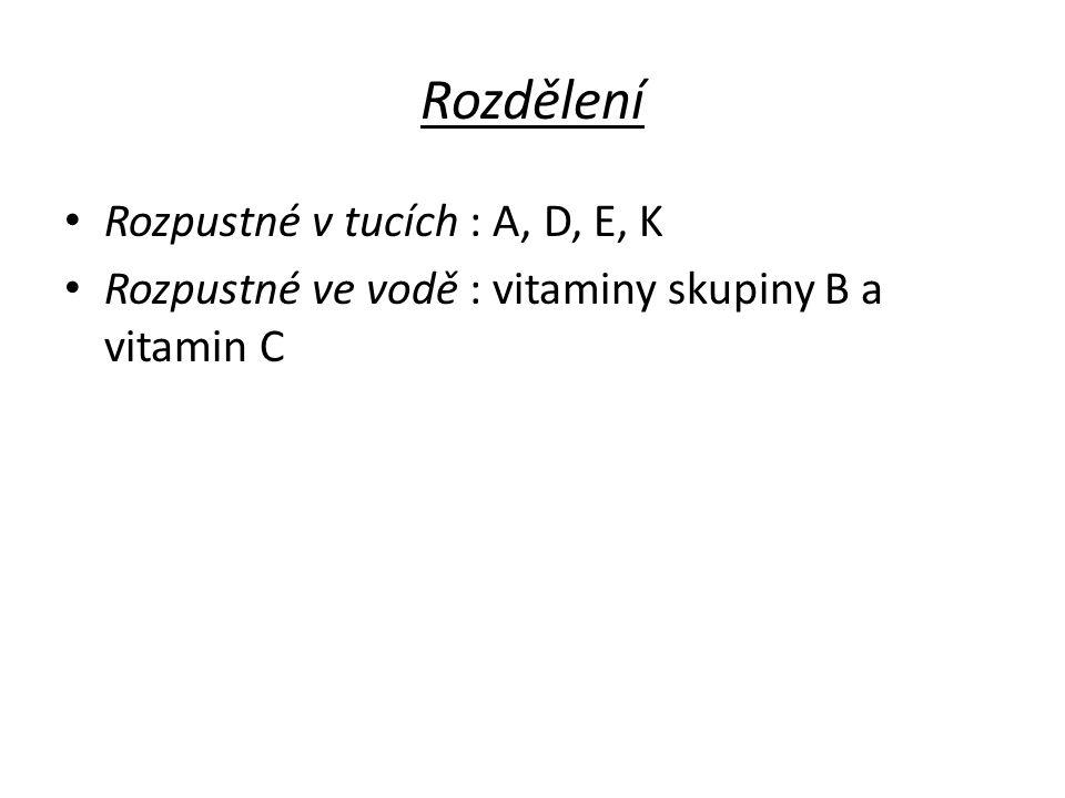 Rozdělení Rozpustné v tucích : A, D, E, K Rozpustné ve vodě : vitaminy skupiny B a vitamin C