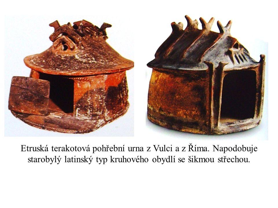 Etruská terakotová pohřební urna z Vulci a z Říma. Napodobuje starobylý latinský typ kruhového obydlí se šikmou střechou.