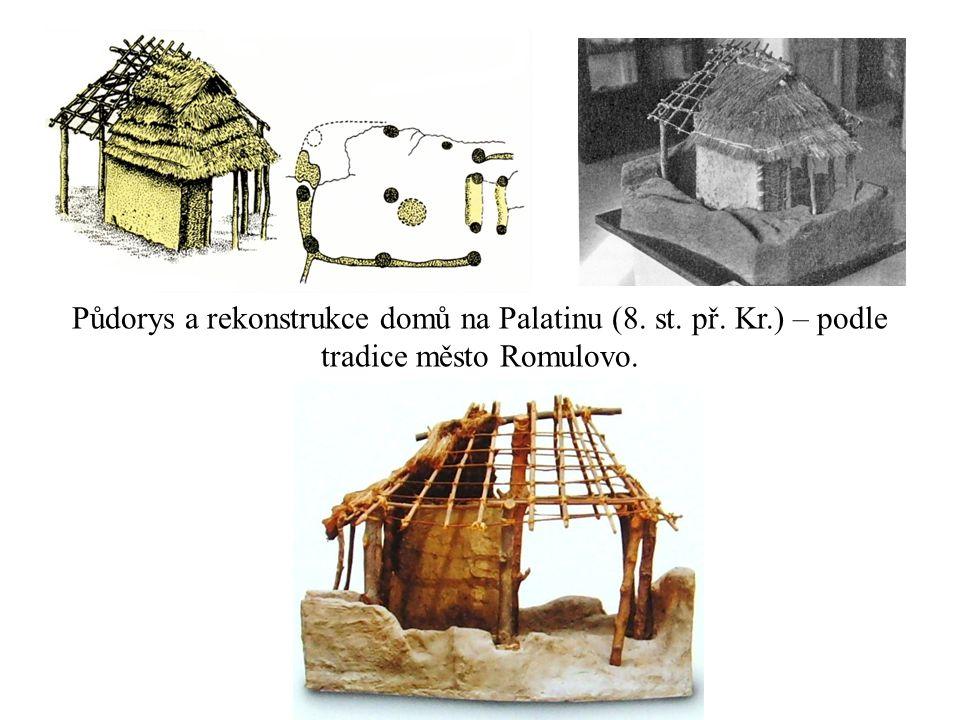 Půdorys a rekonstrukce domů na Palatinu (8. st. př. Kr.) – podle tradice město Romulovo.