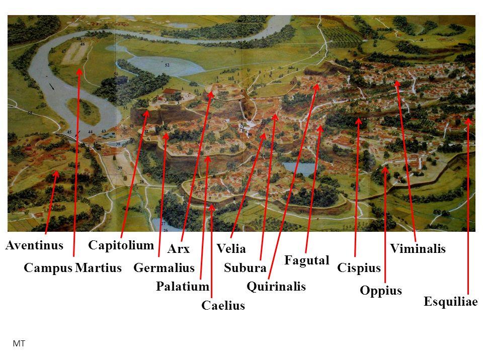 Caelius Germalius Palatium Capitolium Campus Martius Arx Aventinus Quirinalis Subura Velia Oppius Cispius Viminalis Esquiliae Fagutal MT