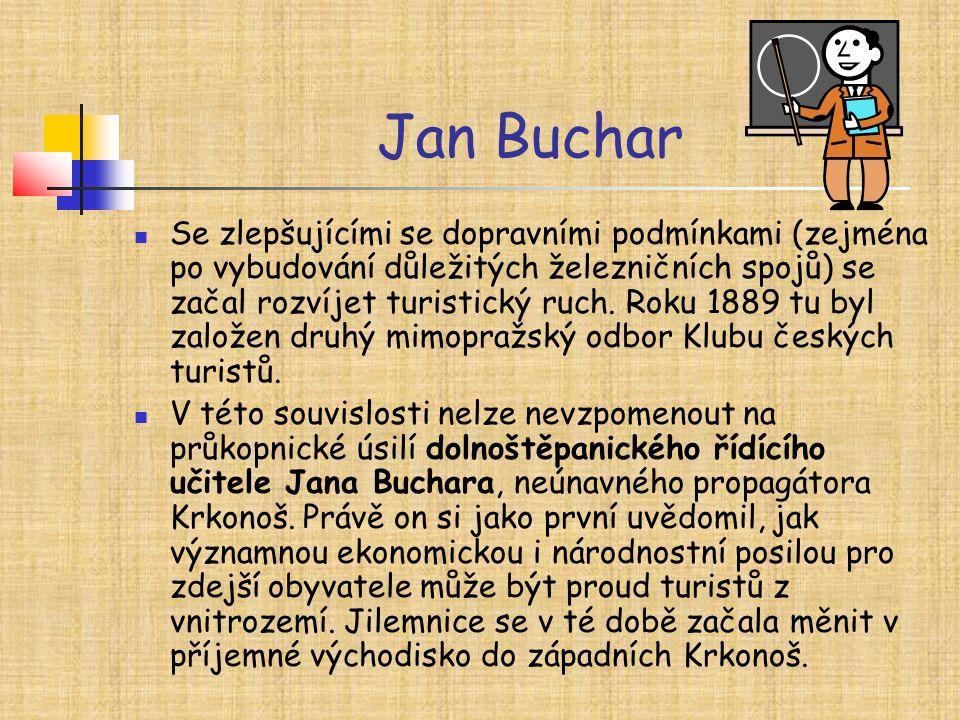 Jan Buchar Se zlepšujícími se dopravními podmínkami (zejména po vybudování důležitých železničních spojů) se začal rozvíjet turistický ruch. Roku 1889