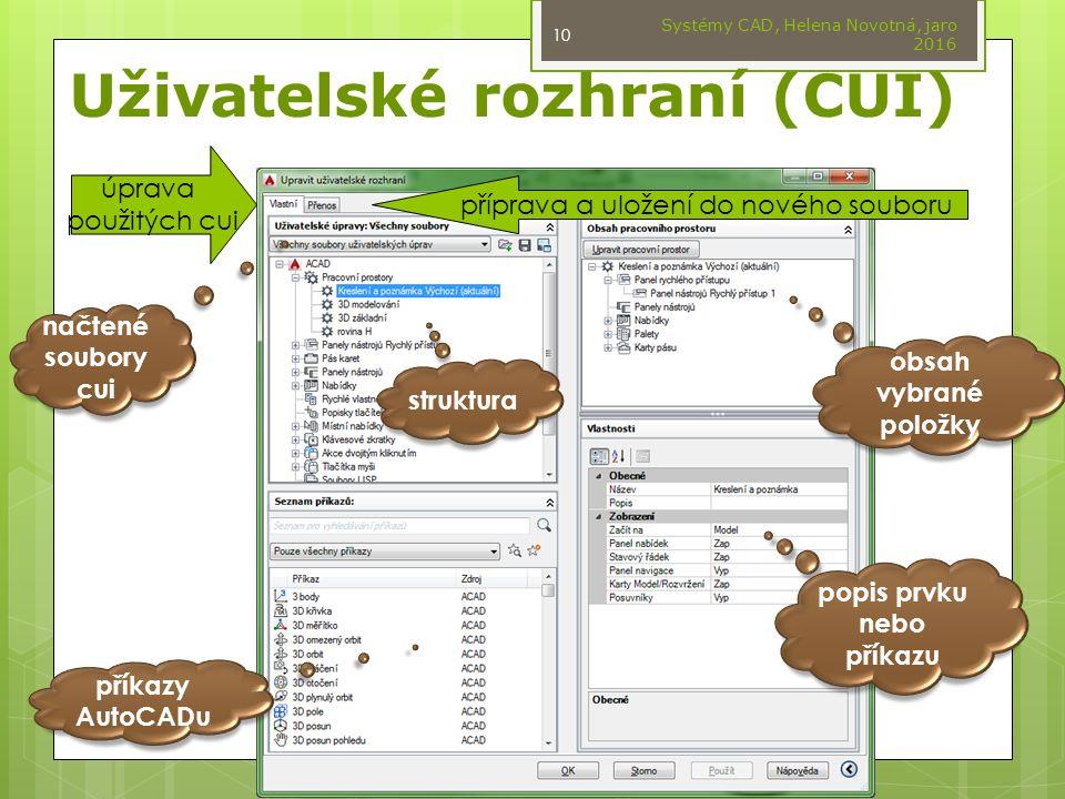 Uživatelské rozhraní (CUI) Systémy CAD, Helena Novotná, jaro 2016 10 popis prvku nebo příkazu příkazy AutoCADu struktura načtené soubory cui příprava a uložení do nového souboru úprava použitých cui obsah vybrané položky