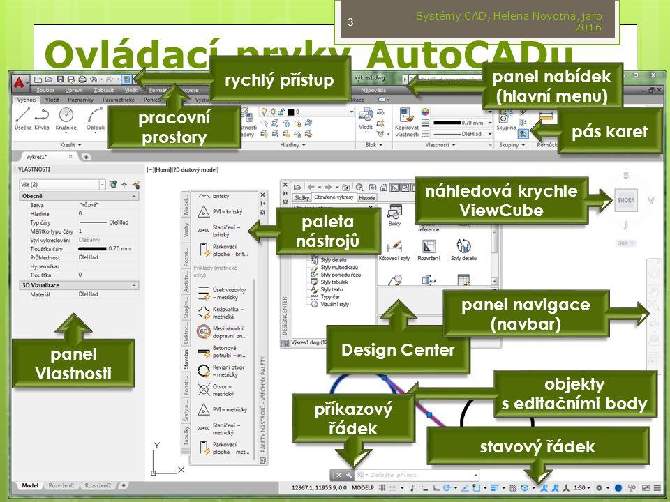 Ovládací prvky AutoCADu panel nabídek (hlavní menu) rychlý přístup pás karet Design Center objekty s editačními body panel navigace (navbar) náhledová krychle ViewCube paleta nástrojů pracovní prostory panel Vlastnosti příkazový řádek stavový řádek Systémy CAD, Helena Novotná, jaro 2016 3